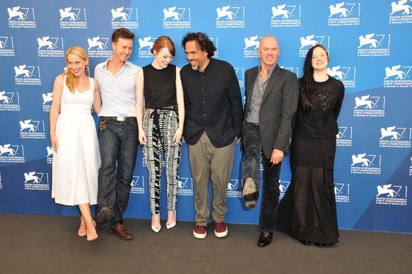 Alejandro Inarritu, Michael Keaton, Edward Norton, Emma Stone, Amy Ryan a Andrea Riseborough